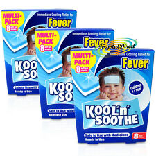3x Kool N Soothe Kids Fever Multipack 8 Sheet Immediate Cooling Relief For 8Hour