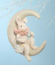 TJ6213 Bethany Lowe Bunny on Crescent Moon w/Egg Basket Easter Decoration