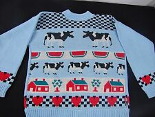Adele Sweater Knitwear 80's 1980's Cows Watermelon Hearts Trees Medium or Large?