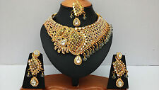 INDIAN BOLLYWOOD BRIDAL & PARTY WEAR JEWELLERY SET GOLD PLATED CLEAR STONE NEW
