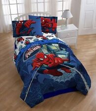 Spiderman Reversible Boys Full Double Comforter & Sheets 5 Piece Bedding, New!
