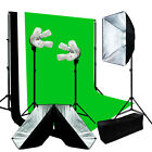 Lusana Studio Continuous Photo Video 3 Softbox Lighting W/ Backdrop Stand Kit