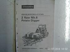 Ransomes 2 rangée Mk.6 Potato Digger opérateur instructions & liste de pièces