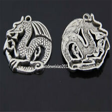 5pc Retro Tibetan Silver dragon Charm Beads Pendant Findings wholesale JP520