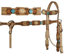 Showman LIGHT OIL headstall and breast collar set with turquoise cross stones!