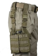 Tan MOLLE Webbing Leg Panel with 2 Open Top NATO Mag Pouches