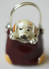 925 STERLING SOLID SILVER AND ENAMEL DOG IN A BAG SATURNO ITALIAN MINATURE