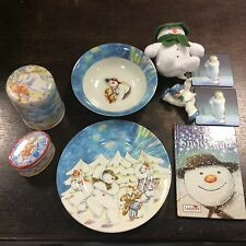 Mixed Lot Of The Snowman By Raymond Briggs Items Including Plate, Dish, Soft Toy