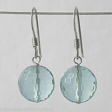 10mm GENUINE FACETED BLUE OBSIDIAN BEAD / BALL 925 STERLING SILVER DROP EARRINGS
