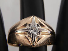 Men's 14k Gold Solitaire .28 ct Round Diamond Ring RARE G/VVS Vintage Estate