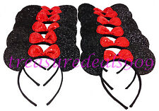 MINNIE MOUSE EARS HEADBANDS * 12 PCS * BLACK RED BOW PARTY FAVORS COSTUME MICKEY