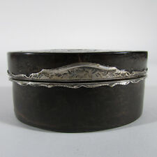 Antique French Silver & Inlaid Faux Tortoiseshell Snuff Box w/ Landscape, 18th C
