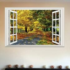 3D Maple Boulevard Tree Road Large Wall Sticker Window View Art Decal Home Mural