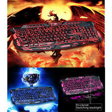3 Colors Crack Illuminated LED Backlight USB Wired Multimedia PC Gaming keyboard