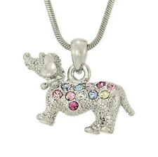 Dog Dachshund Doxie W Swarovski Crystal Puppy Pet Multi Color Pendant Necklace