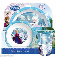 Disney Frozen Children Kids Dinner Breakfast Tumbler, Bowl and Plate Set New