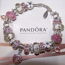 Authentic PANDORA Sterling Silver Bracelet European Pink Hearts Flowers Charms