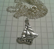 "TIBETAN SILVER PENDANT ""SAILING BOATS REVERSABLE "" ON 18"" or20""NECKLACE CHAIN"