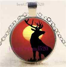 Red Deer Silhouette Cabochon Glass Dome Silver Chain Pendant Necklace