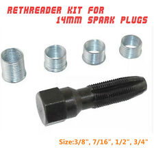 14mm SPARK PLUG CYLINDER HEAD RETHREAD KIT TAP REAMER & HELICOIL THREAD INSERT