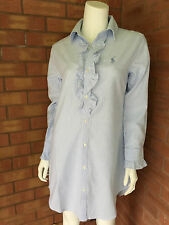 RALPH LAUREN BLUE & WHITE STRIPE OXFORD RUFFLE NIGHTSHIRT SIZE XS (UK 8-10) BNWT