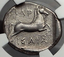LARISSA in THESSALY 420BC Silver Drachm HERO BULL Ancient Greek Coin NGC i59814