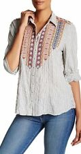 NWT Johnny Was M Medium ROOMY may fit L Large BUTTON BACK Embroidered Top Shirt