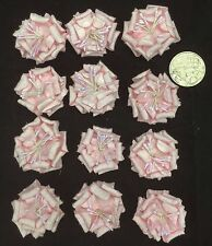 12 Pale Pink Mulberry Paper Flowers Wedding Scrapbook Cards 4cm Diameter
