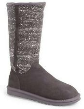 Women's  UGG Australia CAMAYA  Pull On Knit Boots Sequins Suede Charcoal US 6