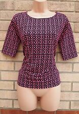 NEXT PINK BLACK ABSTRACT TRIBAL LYCRA FORMAL WORK BLOUSE TUNIC TOP 6 XS