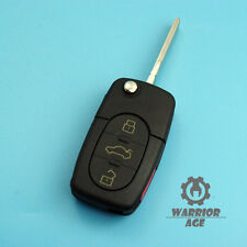 3Button + Panic Flip Folding Remote Key Shell Case w/ Blade For Audi A6 TT A4 A8