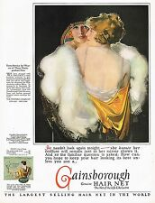 1920s BIG Vintage Gainsborough Hair Net Rolf Armstrong Flapper Lady Art Print Ad