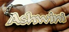 PERSONALIZE KEYCHAIN WITH YOUR NAMES HAND CAVERD ( 2 in 1 STEEL & BRASS )
