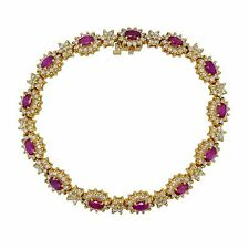 14k Yellow Gold 9.90Ct Diamond And Ruby Elegant Womens Bracelet