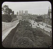 Glass Magic Lantern Slide YORK STREET VIEW INC WALLS AND MINSTER C1900 ENGLAND