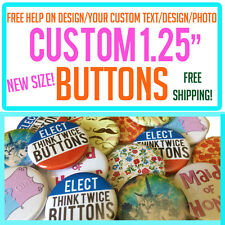 """100 Custom 1.25"""" inch Buttons Badges Pins Punk Indie Bands Rock Pinback Church"""