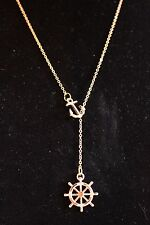 UK New Vintage Nautical Anchor and ships Wheel Gold Plated Necklace (065)