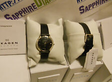 Skagen 3 Hand Black Leather Glitz Ladies Watch 804SSLB NEW Low Inter Shipping