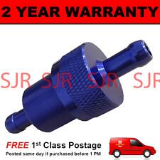 BLUE 10mm METAL UNIVERSAL IN LINE FUEL FILTER ANODISED ALUMINIUM