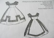 LA POUPEE MODELE PATTERN ~ CROQUIS DU COSTUME WITH FRINGE FOR FASHION DOLL