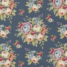 Tilda Fabric. Pardon My Garden. Garden Flowers in Dark Blue. cotton.  By the FQ