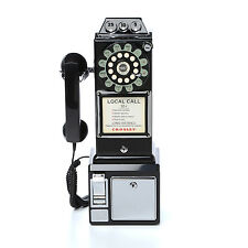 Vintage Pay Phone Black Old Style Retro Look Telephone Coin 1950 Payphone New