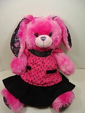 "18"" Build A Bear FRIENDS FOREVER PINK BUNNY RABBIT Plush w Clothes Purple Heart"