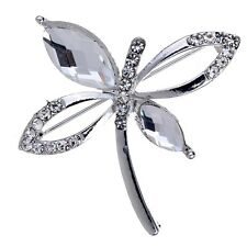 Vogue Silver Plated Shining White Crystal Inlay Butterfly Brooch Women Jewelry