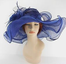 New Woman Church Kentucky Derby Wedding Sinamay 3 Layers Dress Hat 3155 Navy