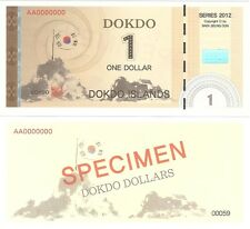 South Korea Dokdo 1 Dollar 2012 UNC SPECIMEN Political Private Fantasy Banknote