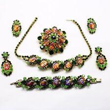 Juliana Book Piece Green Cat's Eye Rhinestone Parure Necklace Bracelet Brooch ER