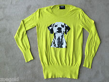MARKUS LUPFER SEQUIN DALMATIAN DOG NEON LIME GREEN 100% COTTON SWEATER SMALL