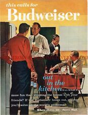 "1960s Budweiser Beer ""Out In The Kithcen"" 14 inch tall ad Tavern Trove"