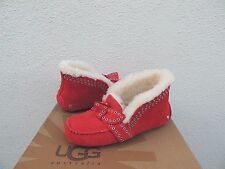 UGG POLER LIPSTICK RED SHEEPSKIN CUFF MOCCASIN SLIPPERS, US 7/ EUR 38 ~NIB